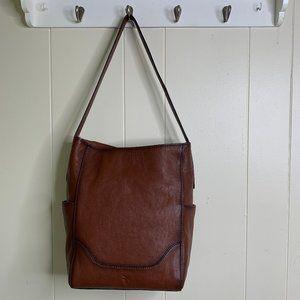 Frye Leather Side Pocket Hobo Cognac Brown Tote